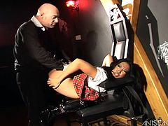 Gorgeous Sothy Hiko wears the sexiest schoolgirl uniform as she gets her yummy pussy drilled hard by Tony Carrera's big cock.