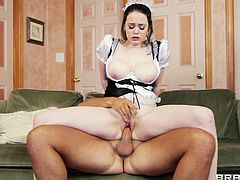 Curvy brunette Tessa Lane, wearing a maid uniform, gives a blowjob to Keiran Lee and lets him drive his wang in her cunt. After that they fuck in the reverse cowgirl and the missionary positions.