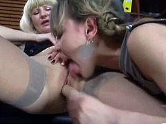 Amelia B got her job on the line as if she didn't obey her horny mature boss Aubrey she will get fired. Watch how Amelia obeyed this horny old woman by toying hard her pussy