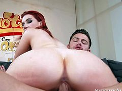 Juicy redhead Siri with absolutely amazing massive natural tits is dangerously horny. She sucks dick like crazy and gives titty job guy wont soon forget before he inserts his cock in her vagina.