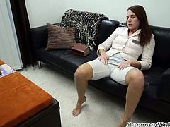 This is a Mormon girl who sits on the couch and reads. Her urges overcome her need for lecture, so she starts rubbing her pussy over her pants and after she takes them off.