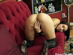 Pawn That Pussy brings you a hell of a free porn video where you can see how the sensational brunette Mia Hurley plays with her pussy while wearing sexy black stockings.