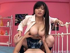 The innocent looking Asian babe wears the sexiest uniform while she gets her hairy wet pussy drilled after giving the hottest blowjob.
