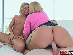 The gorgeous Melanie Monroe and her sexy friend give this guy the time of his life as they suck his huge cock and get their pussies drilled.