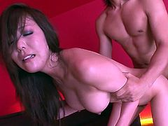Dark and long haired Asian hooker with big tits posed doggy style in bed and got her hairy kitty banged right away. At that moment she presented good deep throat to another thirsting guy. Take a look at that steamy Asian threesome in Jav HD sex clip!