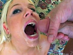 Make sure you take a look at this brutal hardcore scene where the slutty blonde Sara Jordan ends up with her mouth filled by semen after being fucked by two guys in a threesome.