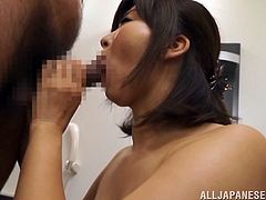 This busty Japanese MILF gets bent over and fucked hard from behind so her sweet, natural tits can bounce and swing as she gets drilled.