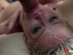 Watch the beautiful blonde Rebecca Blue sucking on this guy's thick cock before having her tight pussy drilled by this guy's thick cock as you hear her moan.