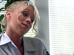 Gorgeous Katie Morgan gets stripped off her sexy uniform after giving an incredibly sexy blowjob and ends up getting a nasty facial.