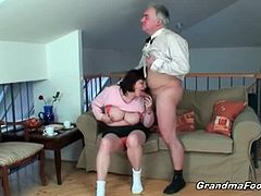 This busty granny treats this guy's cock like it is something extremely valuable. She licks it and gobbles on it before she carefully takes it inside her hairy muffin.