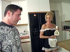 The horny cougar Angela Attison gives this dude an amazing rim job and gobbles his cock before taking a hard fuck up her perfect pussy.