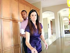 She is a real estate agent trying to sell a big house to a black gentleman. When she sees him indecisive, she is going out for a new strategy. Not only is she an expert of negotiating, but also in the art of oral sex, so she came with an offer, a blowjob in the kitchen for his signature.