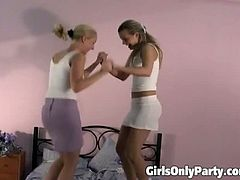 Girls Only Party brings you a hell of a free porn video where you can see how these two nasty blonde lesbians get wild together while assuming very hot poses.