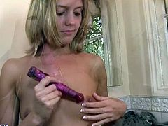 Cute blonde babe Megan Sweetz is feeling so horny today. First, she starts to play with her sweet nipples, then licks her favorite toy and slides it in her muff.