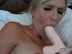 Petite housewife Jolene got rewarded a stiff cock for her extreme ways of satisfying herself by getting her three sex toys and inserting it on all her holes.