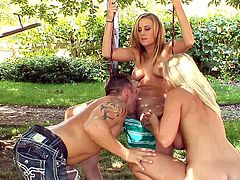 Sizzling blondes Devon Lee and Mae Meyers lick each other's pussies in the garden. Then a man joins the hotties and lets them suck his boner before he pokes it in the chicks' cunts.