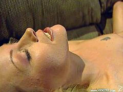 Two mind blowing busty blondies start kissing and undressing each other to flash their appetizing curves. Thereafter chicks lick and dildo each other's hot twats.