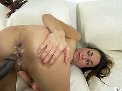 Salacious black haired wench got fucked tough by kinky African man