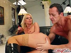 Gorgeous cougar in high heels screams as he fingers her shaved pussy before screwing her anal hardcore then she deepthroat his cock
