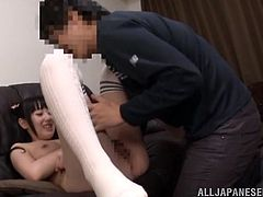 Eri is a cute college girl who is a little bit shy, but she was so turned on that she couldn't resist getting naked and fucking.