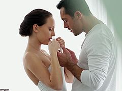 Check out this passionate and very erotic hardcore scene where the sexy brunette Nataly Von is fucked by this guy after eating her out.