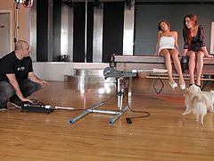 The gorgeous sisters Shana Lane and Roxy Lane get their pussies toyed by a horny dude and drill each other with a big vibrator machine.