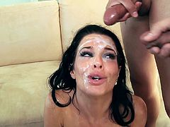 Sexy brunette mom Veronica Avluv, wearing a corset, is trying to satisfy all these men. She sucks their boners and lets them play with her twat. In the end she gets facialed hard.