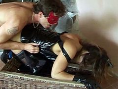 Horny brunette babe rammed hard on this hot hardcore video doggy style and reverse cowgirl, she has a fetish for high heels and leather