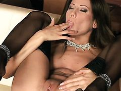 Anita Pearl with tiny tities and hairless muff is in heat in solo action