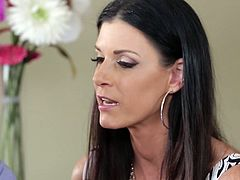 Insatiable cougar India Summer is over at her friend's house when she sees Nick. It seems that Nick broke up with his girlfriend when she cheated on him. India Summer gives Nick a lecture about being confident in himself and not letting his slutty girlfriend take advantage of him. She goes straight for his throbbing cock. She sucks his big cock passionately like there's no tomorrow.