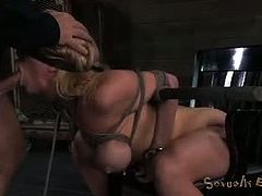 Realtime Bondage brings you a hell of a free porn video where you can see how this vicious blonde slave gets bound and banged very hard into a massively intense orgasm.