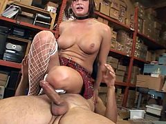 The sexy MILF Tory Lane wears her sexy white fishnet stockings as she enjoys taking some big hard cock up her tight butthole in this nasty gangbang.