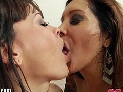 Evil Angel brings you a hell of a free interracial porn video where you can see how these brunette and redhead sluts play with cum before making out viciously.