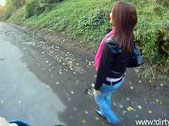 Kinky amateur redhead chick is playing dirty games with a guy in a park in hardcore reality scene. The bitch gives a blowjob to the dude, then lets him pound her snatch in the missionary pose.