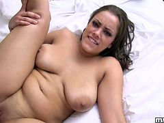 Gorgeous amateur in a sexy panties sheds it off showing her hot ass before giving a blowjob then gets ravished as her big tits bounces