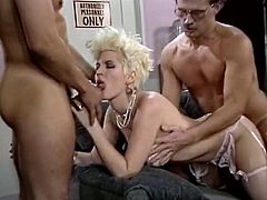 Vintage blonde slut enjoys two hard cocks in this breathtaking free porn video set by the folks at Classic Porn Scenes. She's ready to have a hell of a time with these guys!