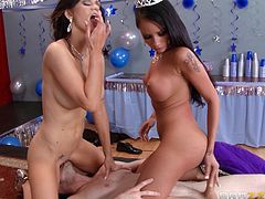 Take a look at this hardcore scene where these sexy brunette share the prom king's big cock in a threesome that'll make your dick hard.