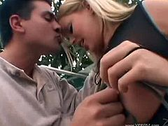 Checkout this yummy busty blonde milf Alicia Rhodes, she has a nice ass and a lovely pairs of rack. Watch how she gets her boobs fucked by this eager cock. Enjoy this video of this blonde getting fucked outdoors.