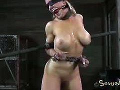 Busty blonde bombshell Darling is ready for some serious and hardcore action in the dungeon. Watch as she is forced to suck big cock before getting nailed.