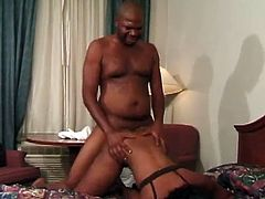 The slutty ebony MILF Chocolate Star gets her ass pounded by this lucky hung guy after giving him an amazingly sexy blowjob.
