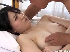 Share this with your friends! A Japanese brunette, with natural boobs wearing panties, goes hardcore with a dirty guy and moans loudly.