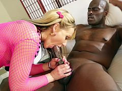 Sexy Blonde With Massive Fake Tits Enjoying A Hardcore Interracial Fuck