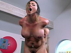 Make sure you take a look at Danica Dillon's beautiful breasts before this sexy brunette is fucked on top of a pool table until she's facialized.