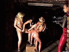 A gorgeous young sex slave with long blonde hair, petite tits and an awesome body enjoys being tortured and fucked by a stranger.