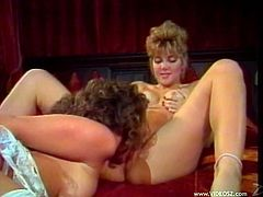 Have fun with this great vintage scene where these beautiful ladies make you pop a boner as they have lesbian sex.