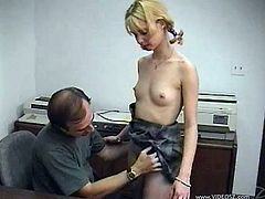 Slutty blonde Jamie Lynn, wearing a miniskirt, is playing dirty games with a dude indoors. She favours the man with a blowjob, then bends over a desk and gets her cunt banged from behind.