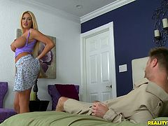 Touch yourself as you watch this blonde MILF, with titanic gazongas wearing a miniskirt, while she gets plowed hard in different positions.