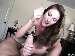 Samantha Ryan makes Manuel Ferraras stiff fuck stick disappear in her mouth in sexual ecstasy