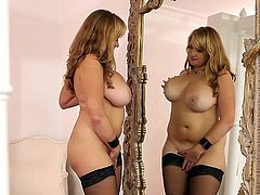Check out this amazing solo scene and get a boner as you watch the busty Sara Willis taking off her lingerie to play with her wet pussy.