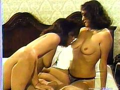 The gorgeous lesbian cougars Jan and Jean get incredibly horny in bed as they strip off their panties and finger each other's yummy pussies.